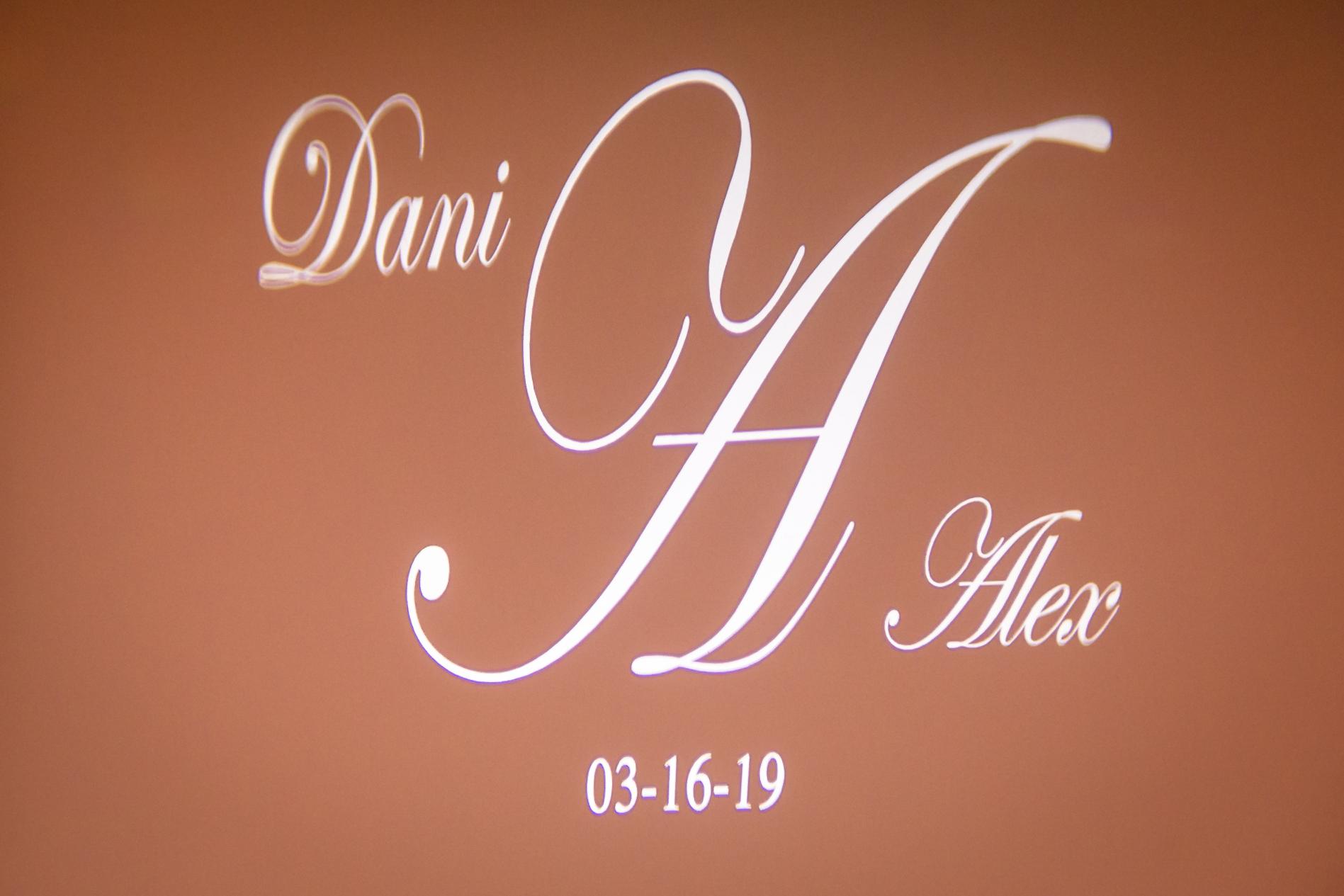 Name in lights lighting design on wall at Nanina's in the Park, Belleville NJ
