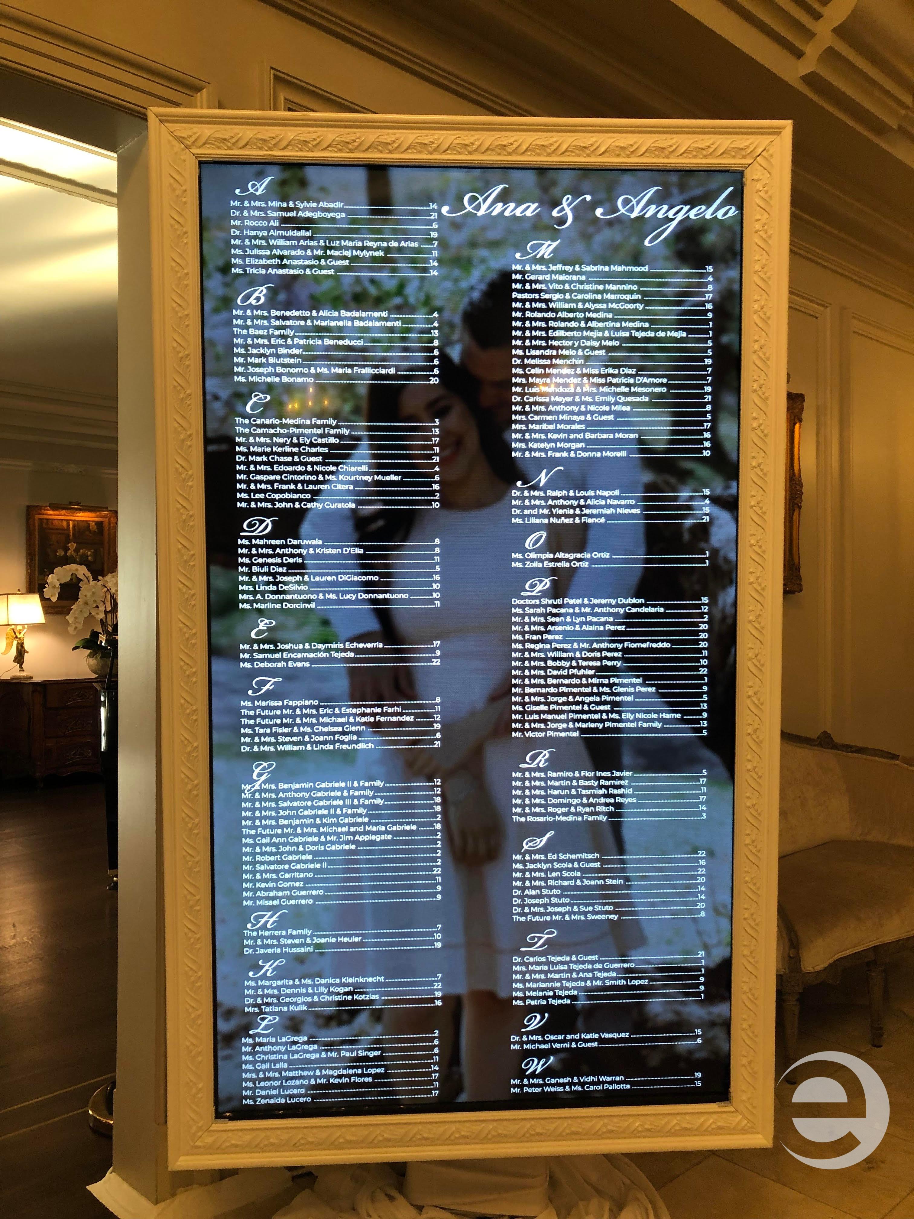 Digital seating chart display for wedding at Park Chateau, NJ