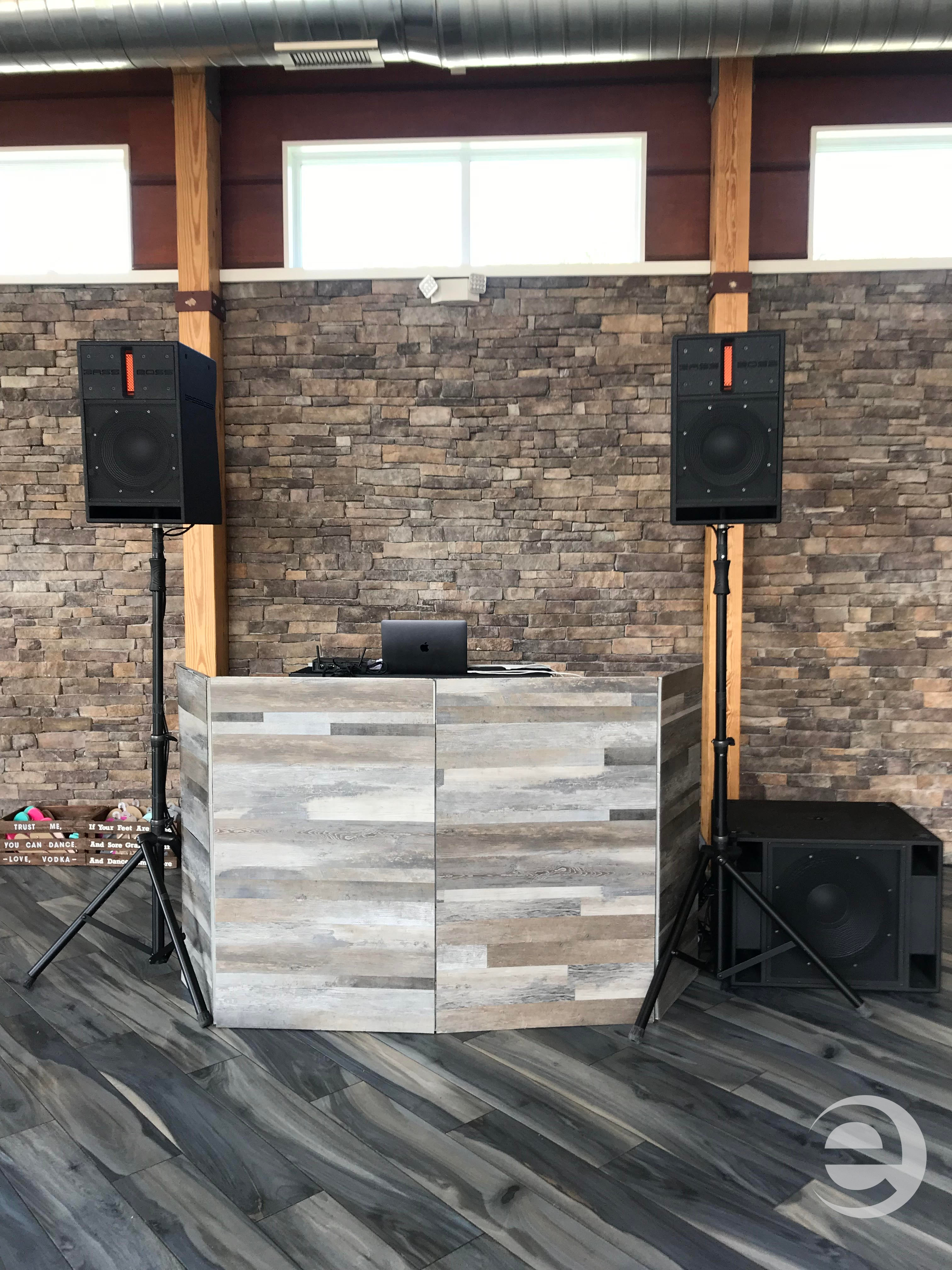 rustic dj booth facade for wedding reception