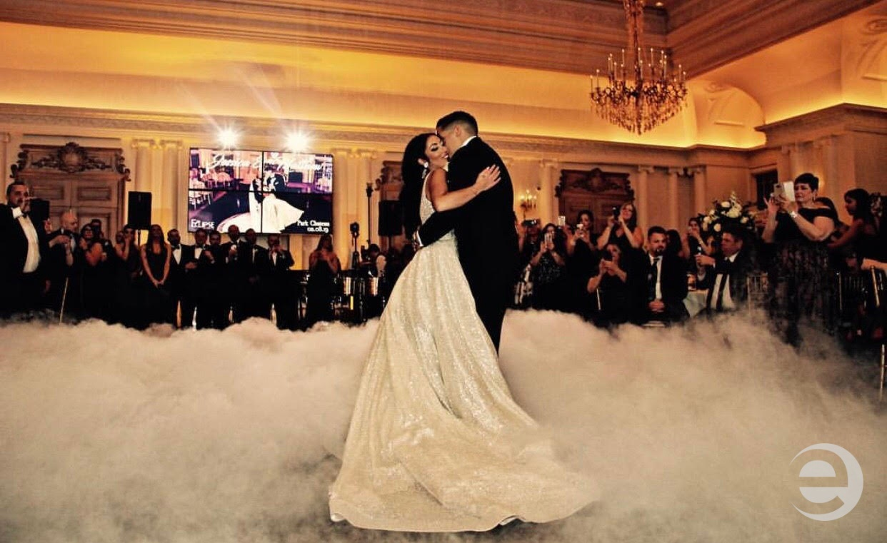Couple first dance dancing on the clouds at Park Chateau, NJ