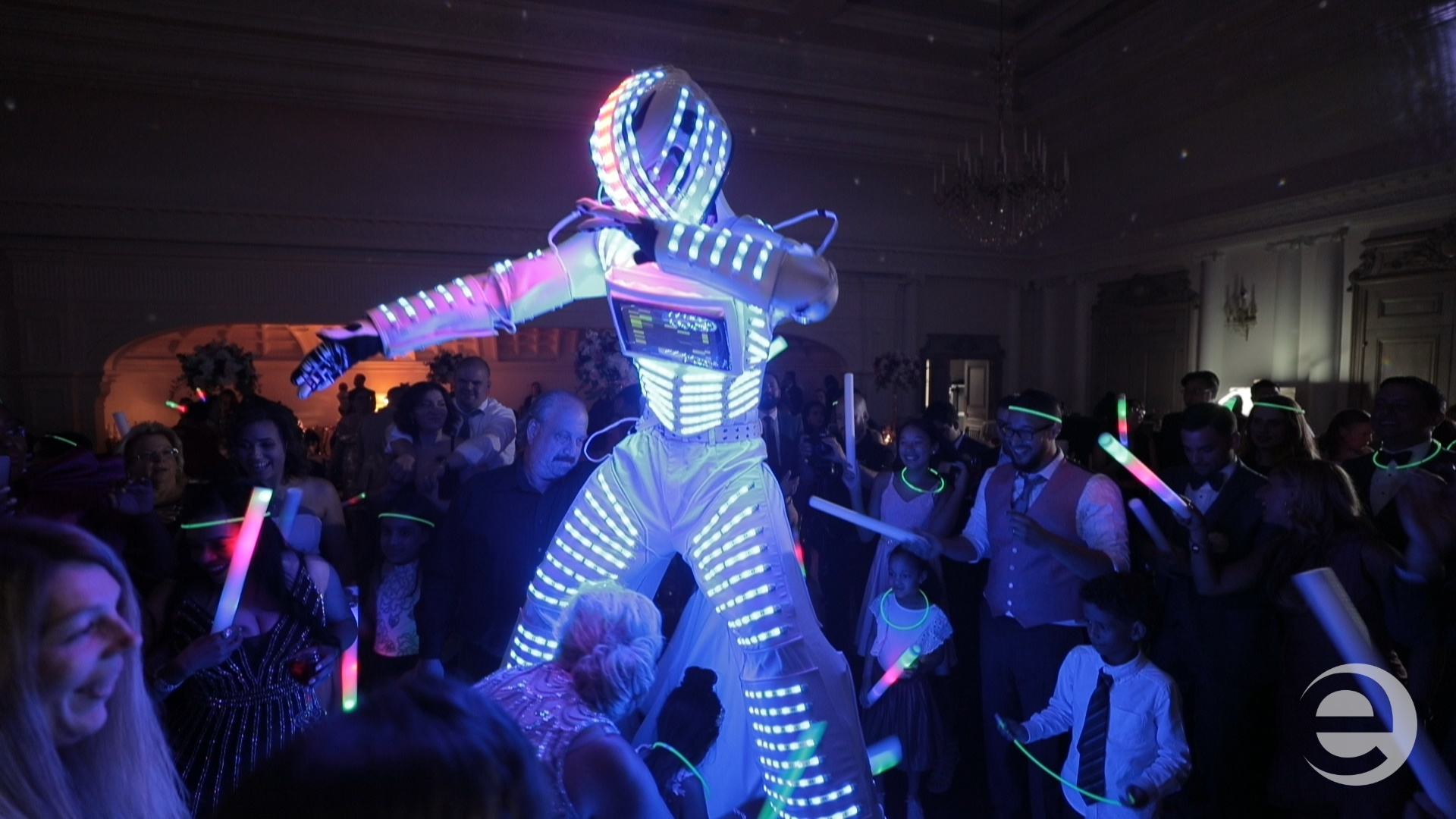 LED robot dancing with guests at Park Chateau, NJ