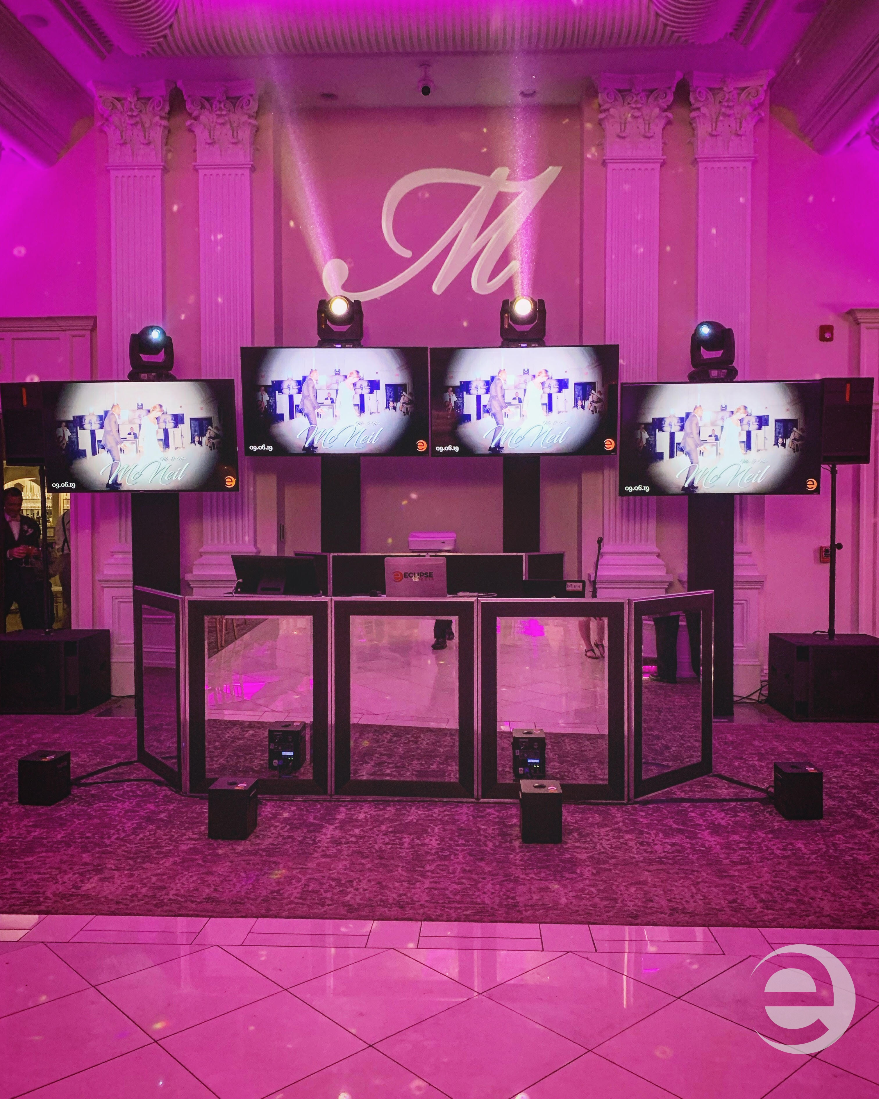 mirror dj booth, video displays and lighting at Nanina's In The Park, NJ