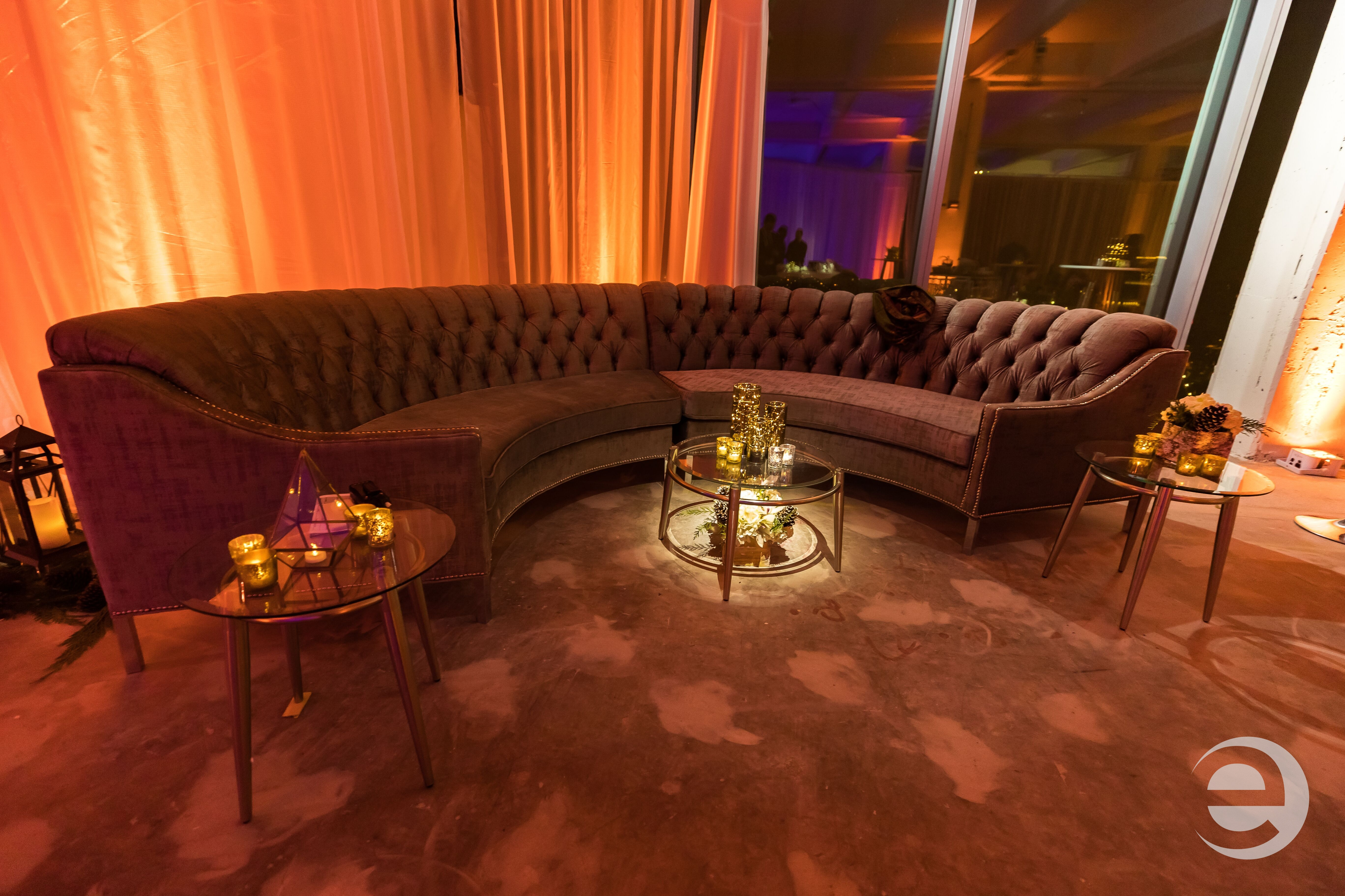Lounge furniture, lighting setup for Sabey holiday corporate party in NY