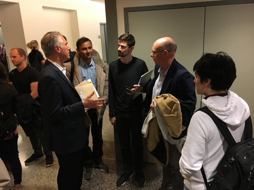 Reserve's CEO Nevin Freeman fielding questions from event attendees after a presentation.