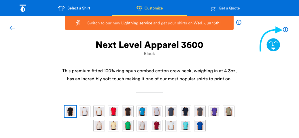 9f361f4c8 Check your chosen brand and shirt style to see what sizes and colors are  available. You can see colors immediately when you click on a product: