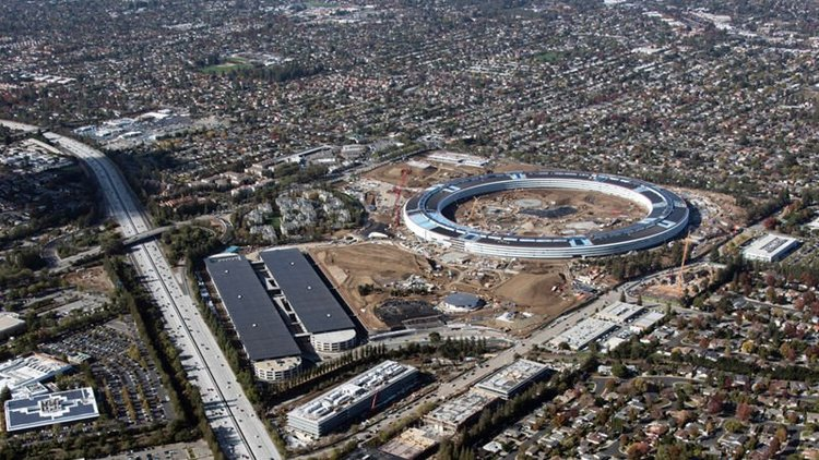 """Apple's headquarters, nicknamed the """"Spaceship Campus"""" still under construction."""