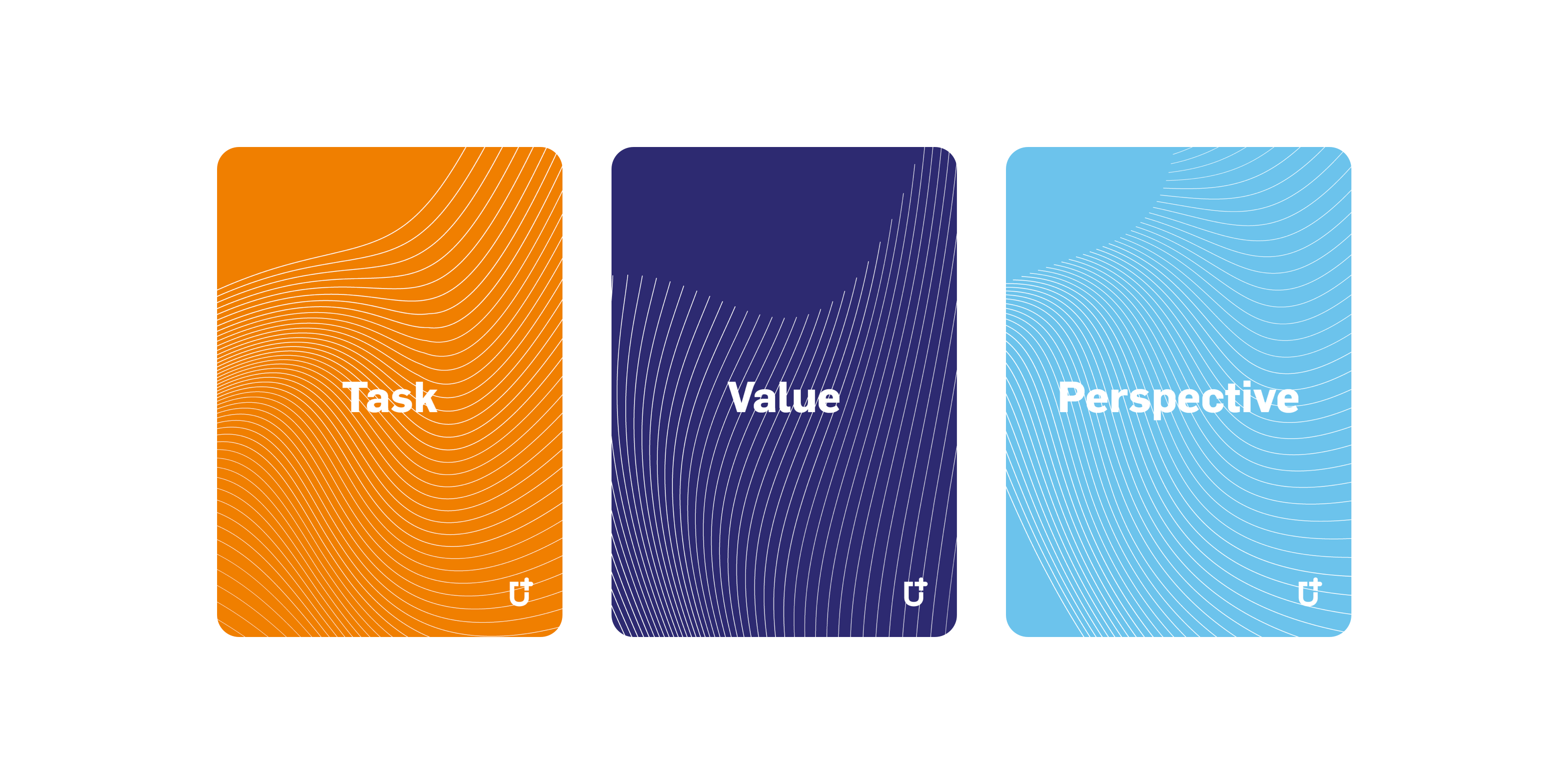 The three types of cards in the game: 'Task', 'Value' & 'Perspective'
