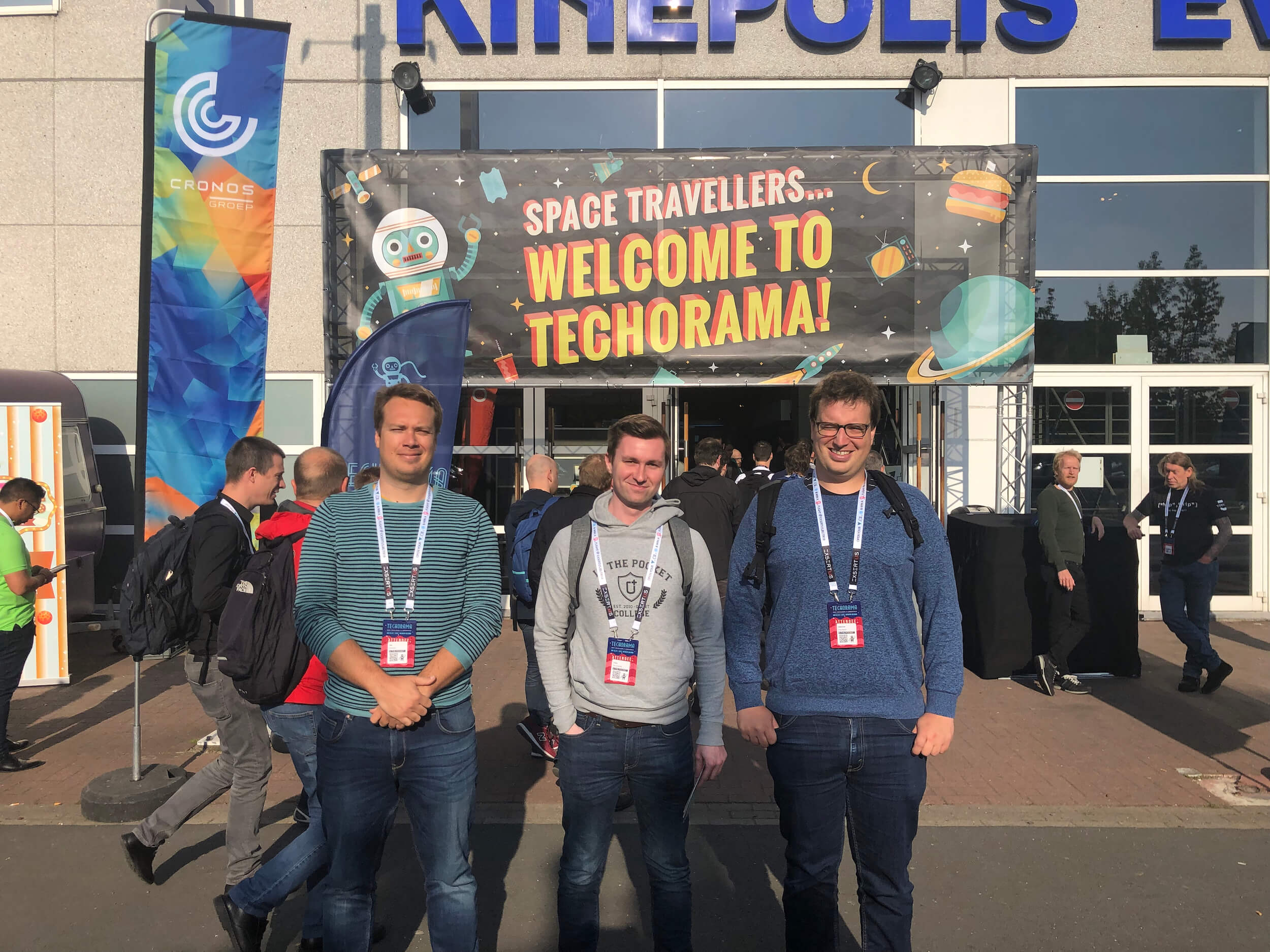Tim, Yves and Kristof in front of the Techorama entrance