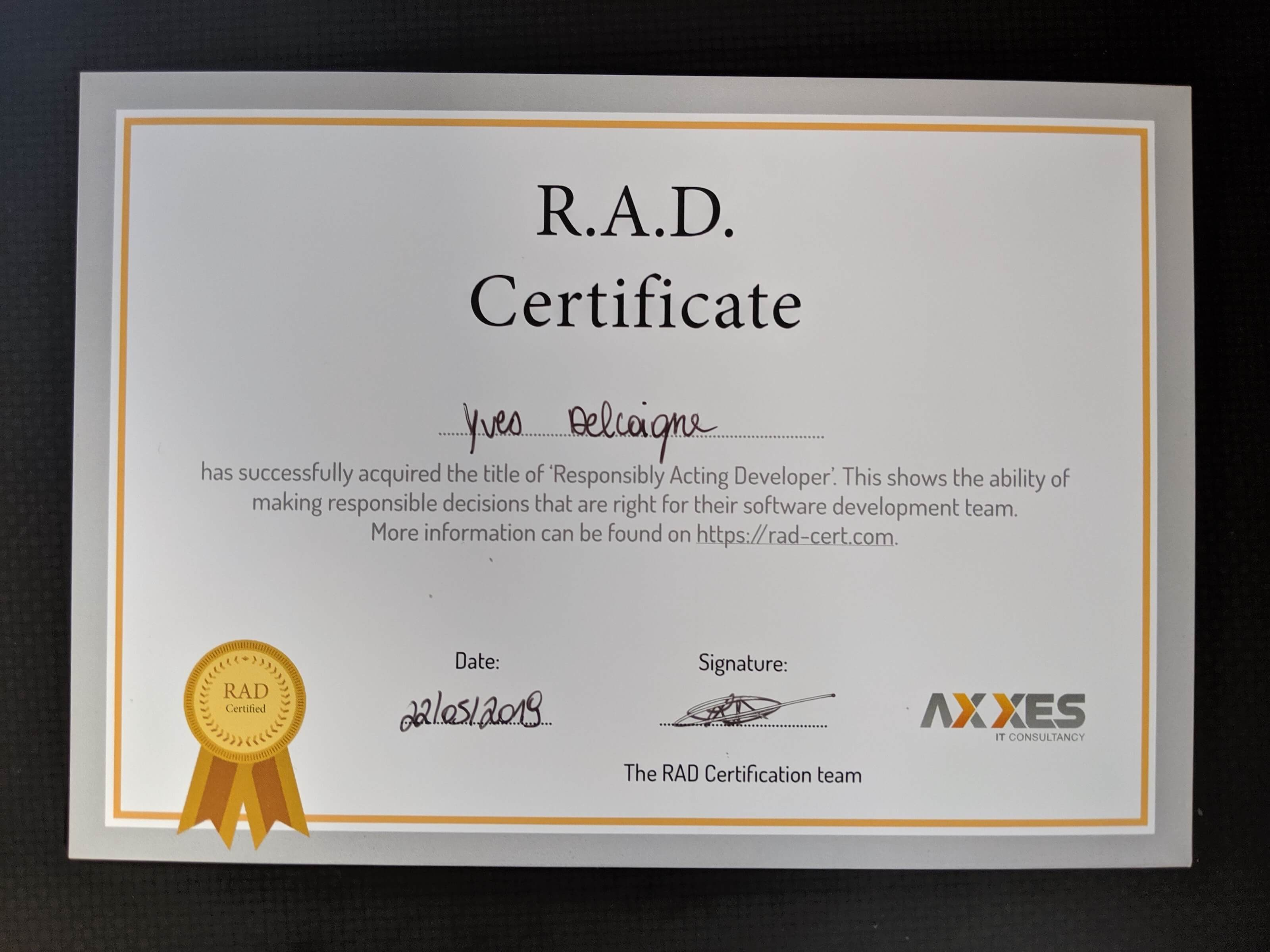 R.A.D. Certificate of Yves Delcoigne