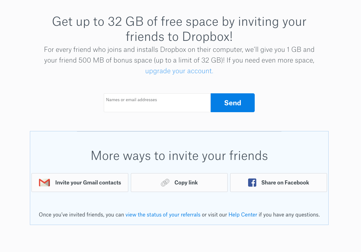 Dropbox friend invite incentivized program
