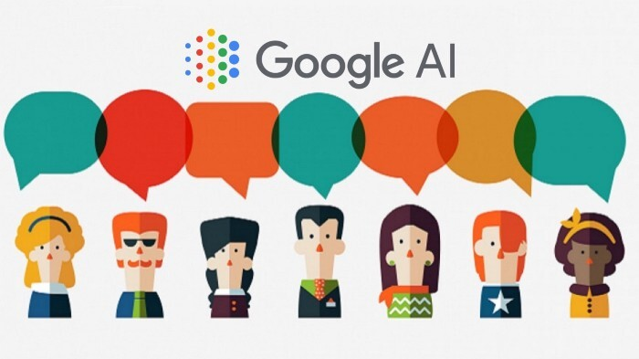 Google AI logo header with diferent people speaking different languages
