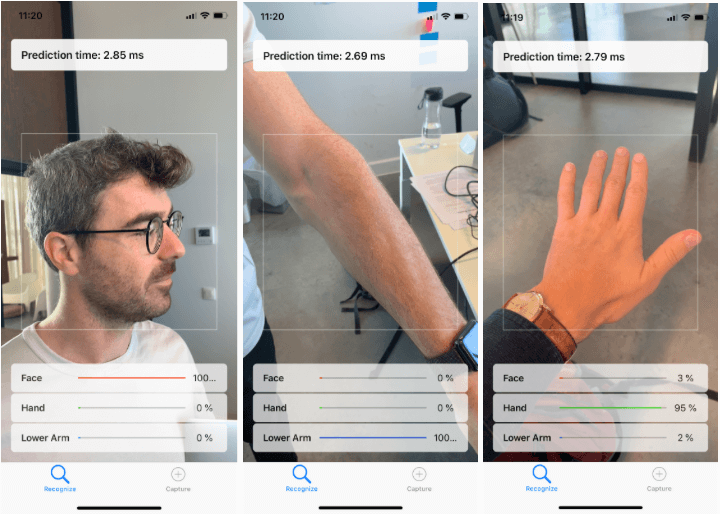 A recognition of a face (2.85 ms), of a lower arm (2.69 ms) and of a hand (2.79 ms) by the iPhone XS
