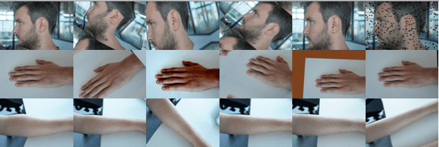 Different visuals of a head, hand and upper arm
