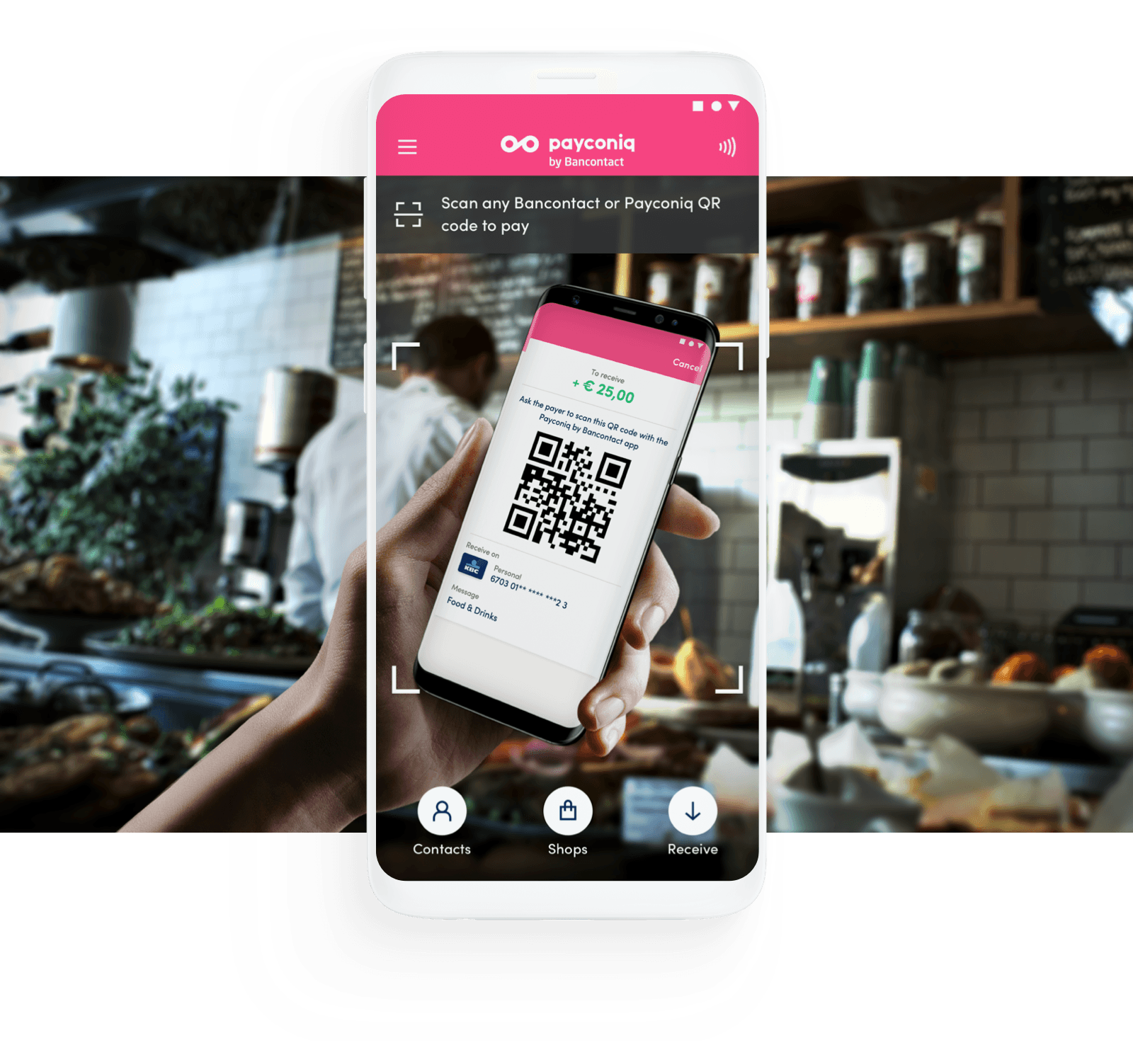 Mobile device scanning a QR code with the Payconiq by Bancontact app