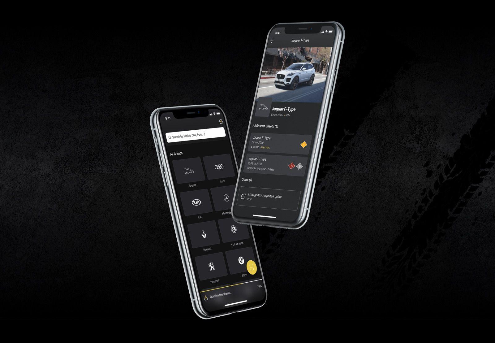 Screenshots of the Euro NCAP app