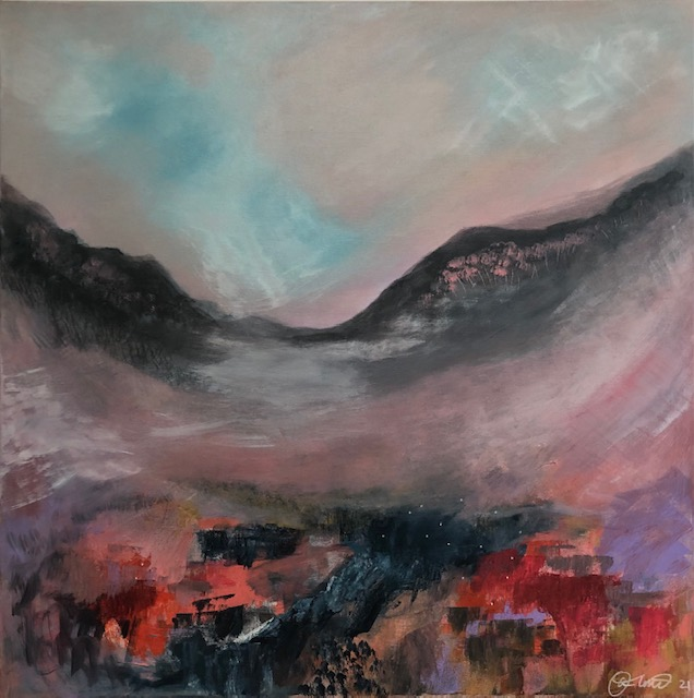 'Anjum Olmo's art practice focuses on contemporary landscape paintings and printmaking inspired by the sacred country of the traditional owners the Gundungurra and Darug first nation people of the Blue Mountains.