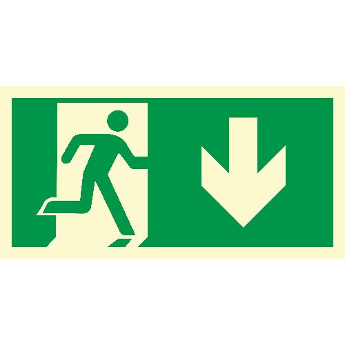Rømingskilt: Løpende mann, pil ned