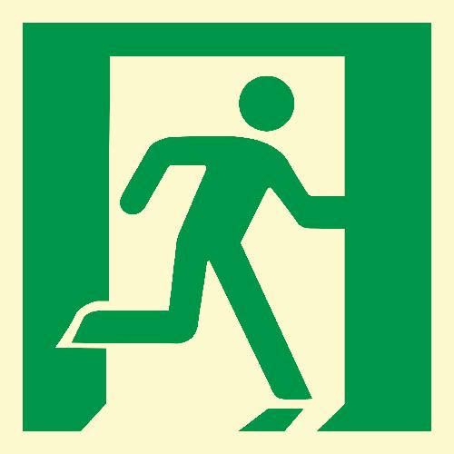 Rømningskilt: Løpende mann, høyre