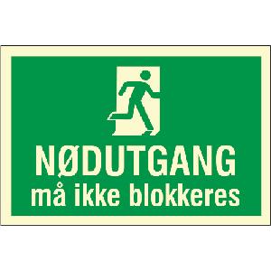 Nødutgang må ikke blokkeres