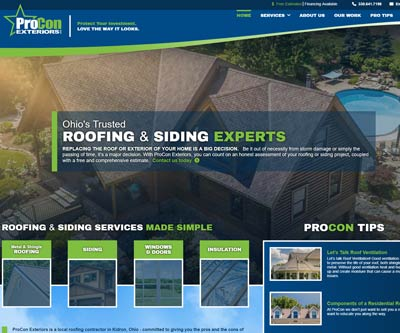 Website Design for ProCon Exteriors by Snyder Advertising - Wooster, Ohio