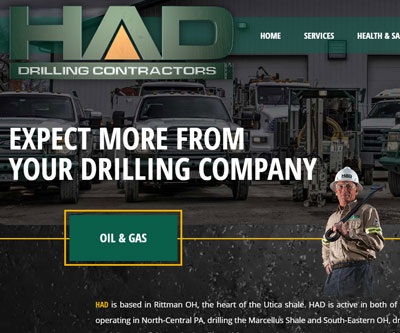 Website Design for HAD Drilling by Snyder Advertising - Wooster, Ohio