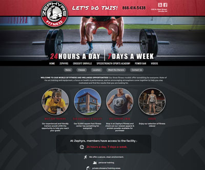 Zephyr's Fitness Website Design by Snyder Advertising - Wooster, Ohio