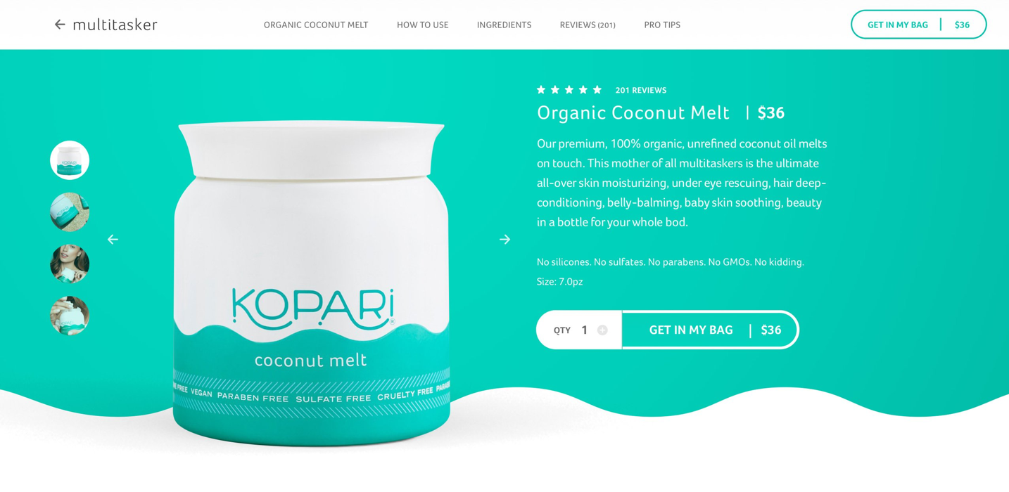"""Screenshot of Kopari landing page with contrasting button that says, """"Get in my bag"""""""