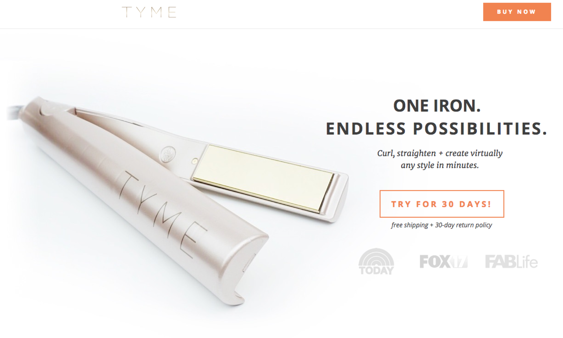 Screenshot of Tyme's Landing Page showing a large, clean photo of their Iron