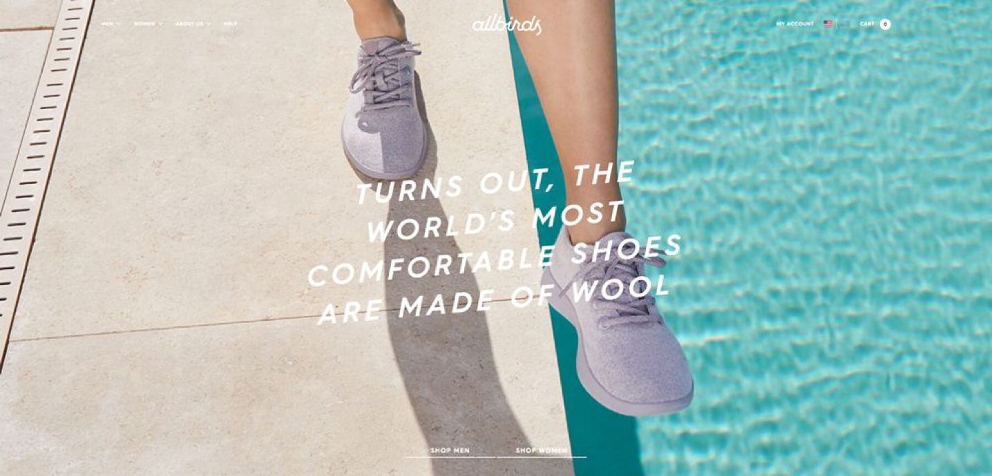 """Allbirds landing page that says, """"turns out, the world's most comfortable shoes are made of wool"""""""