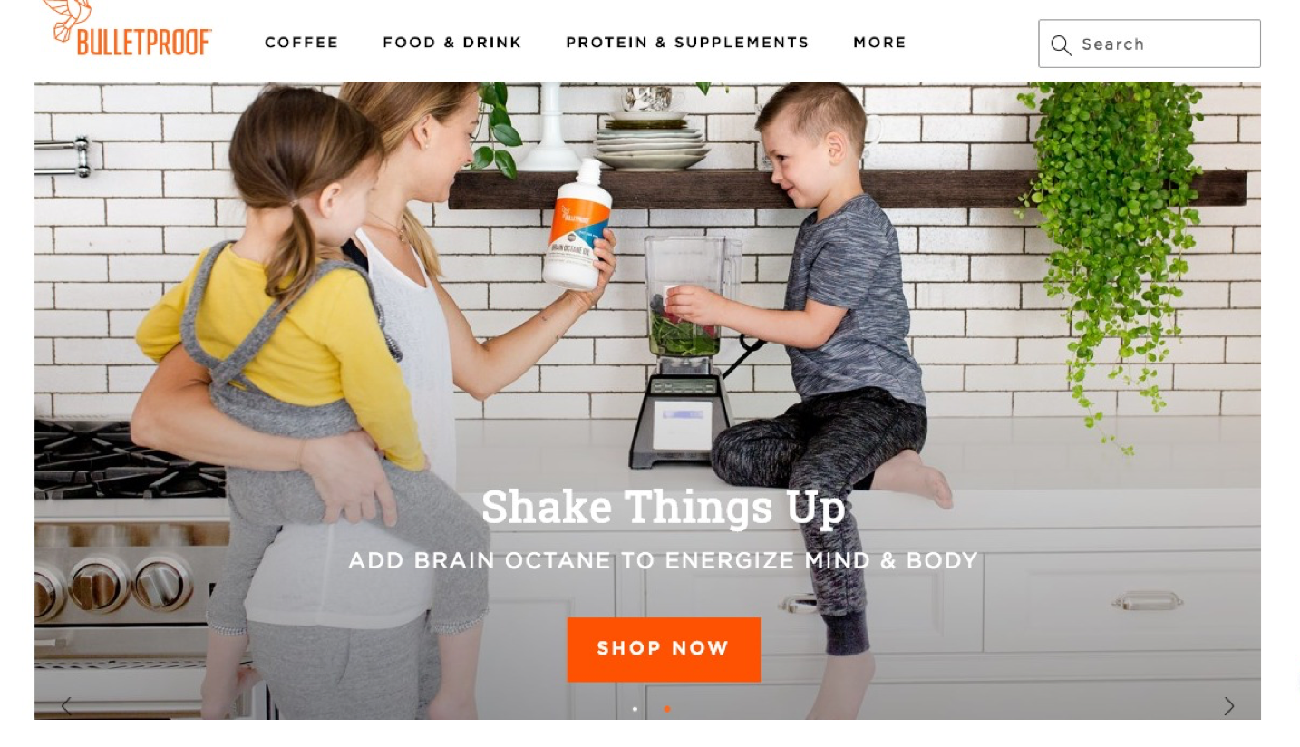 Screenshot of Bulletproof Coffee landing page with a bright orange button