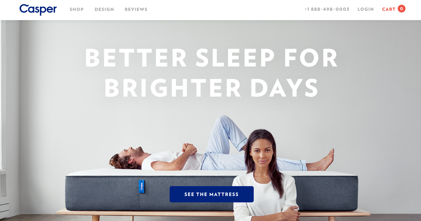 """Screenshot of Casper landing page with large image and white text that says, """"Better sleep for brighter days"""""""