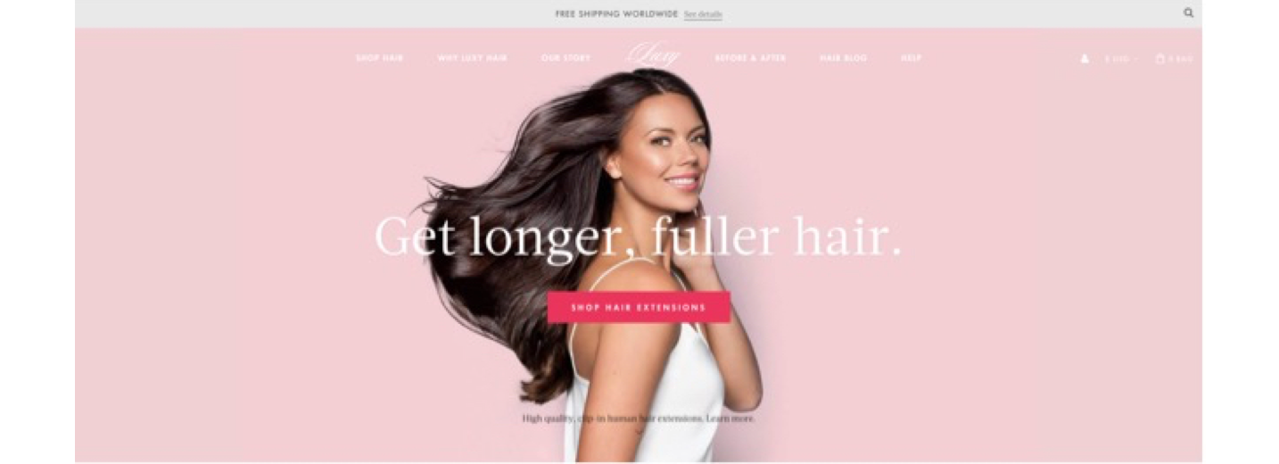 Screenshot of woman in center of landing page