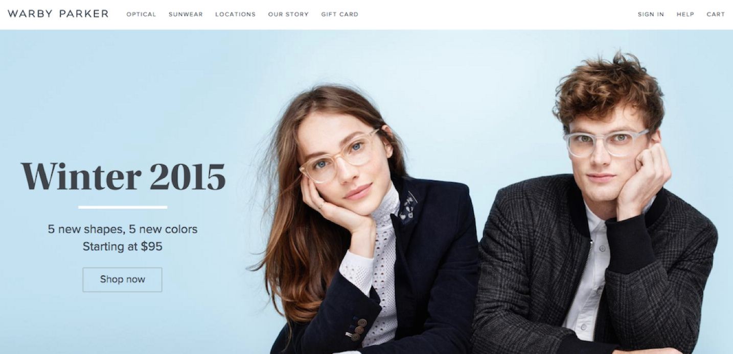 """Screenshot of Warby Parker landing page with the headline saying, """"Winter 2015"""""""