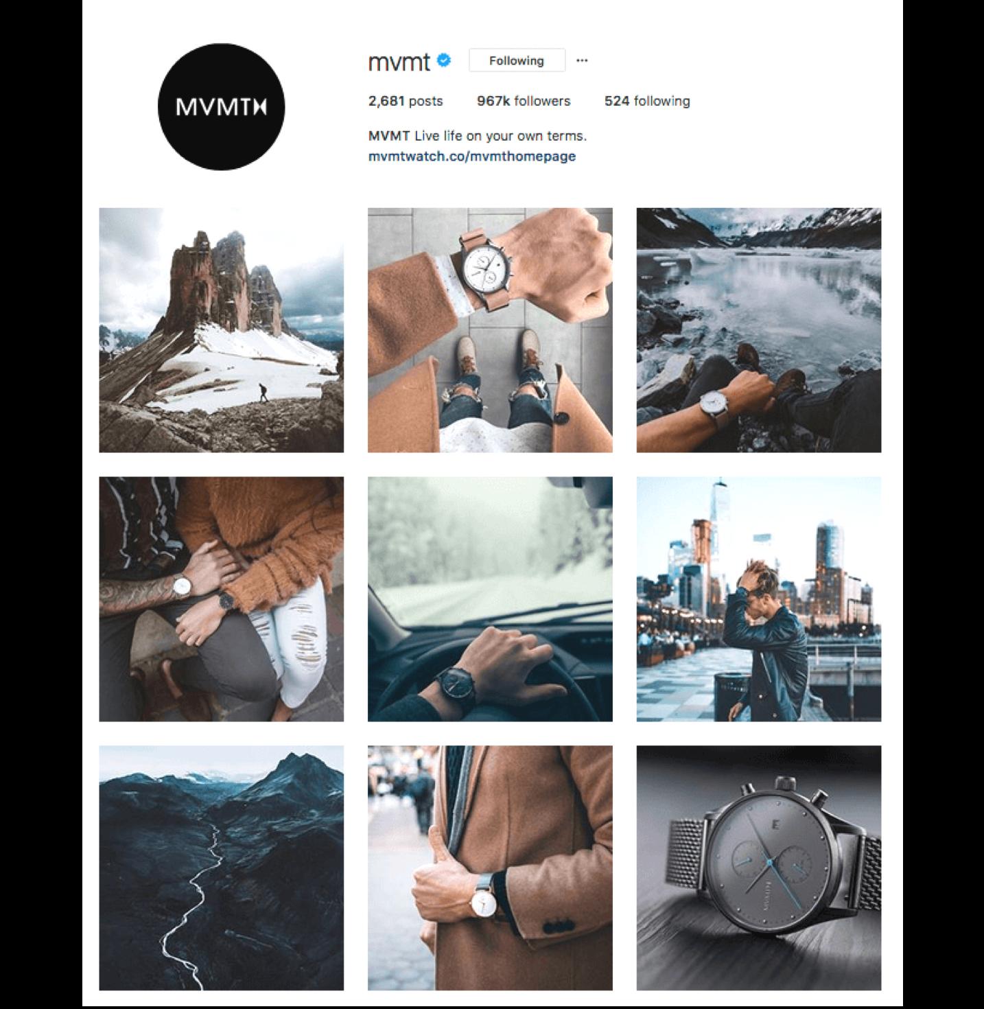 Screenshot of mvmt's Instagram feed