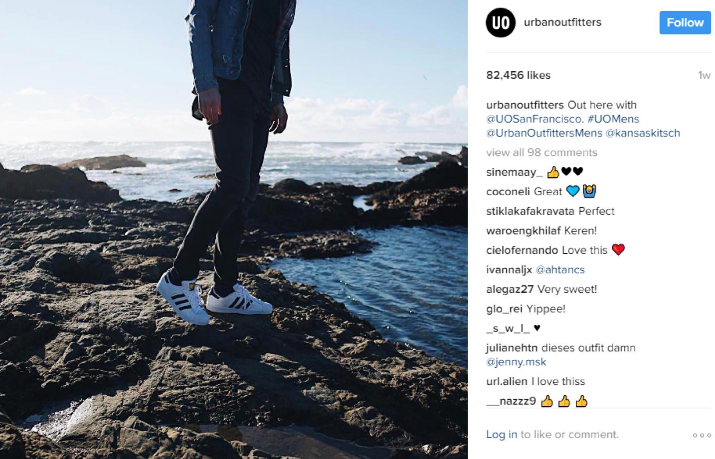 Urban Outfitters' Instagram fan post.