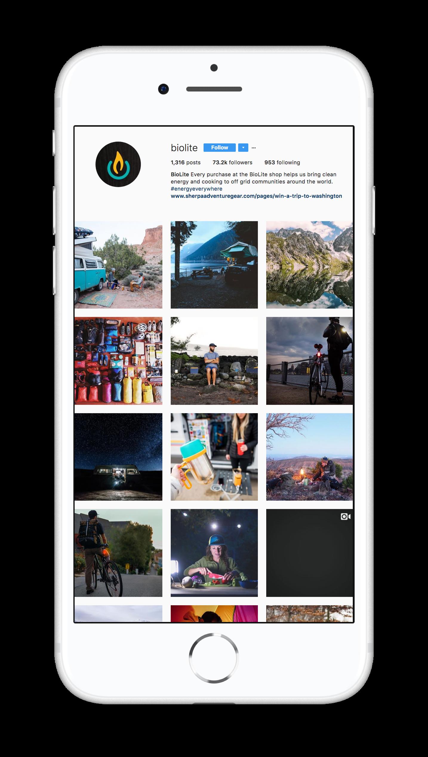 Screenshot of biolite's Instagram feed