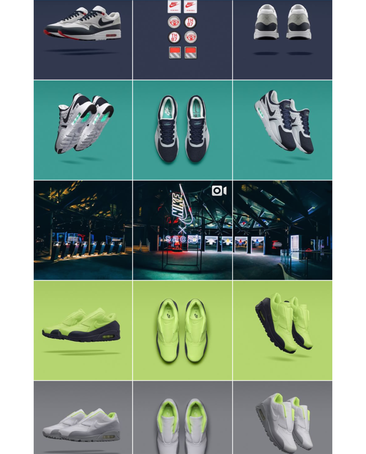 Screenshot of Nike Lab's Instagram feed with color formatting per column