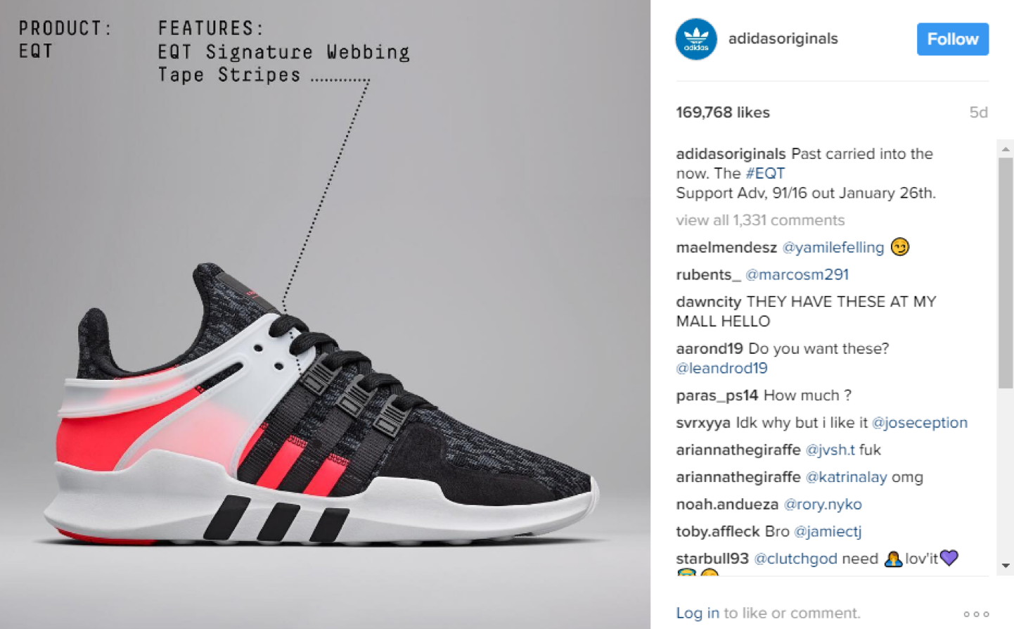 Photo of Adidas' Instagram post with simple product shot.