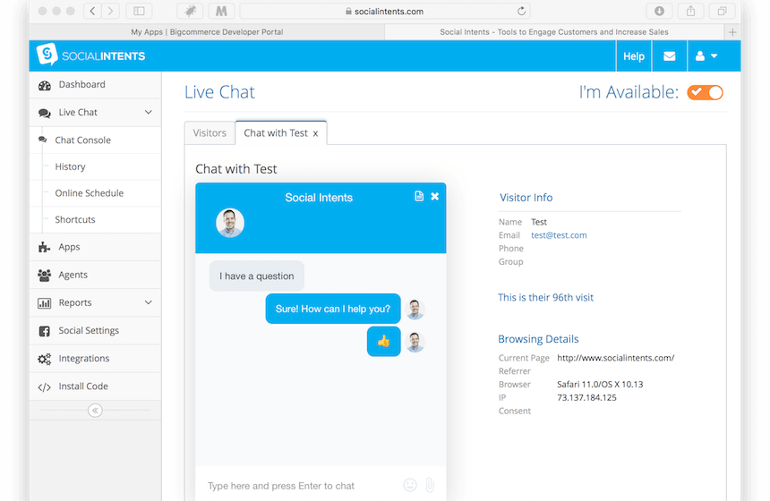 social intents bigcommerce chat apps marketplace screenshot