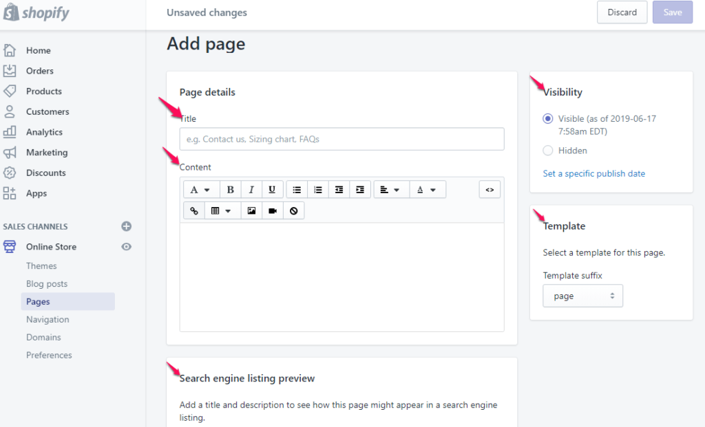 add about us page Shopify editable fields example for adding a new page
