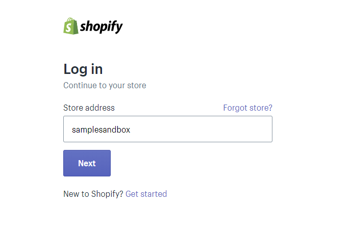 about us page shopify step 1 login