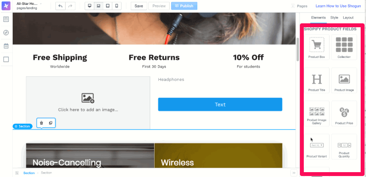 use shogun to add elements to about us page shopify