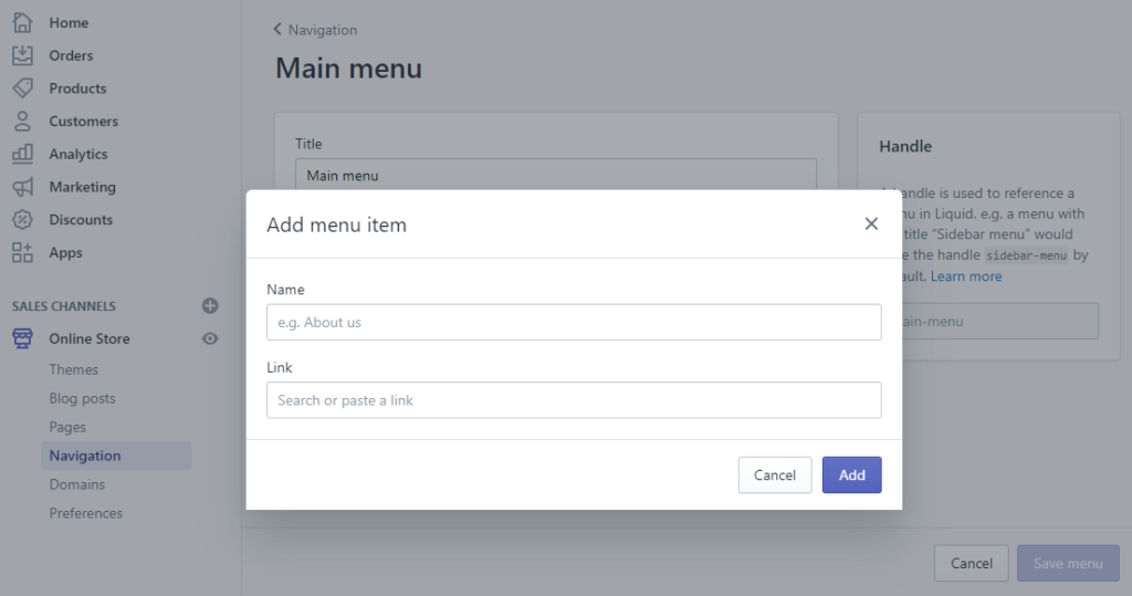 add about us page shopify add menu item step 3