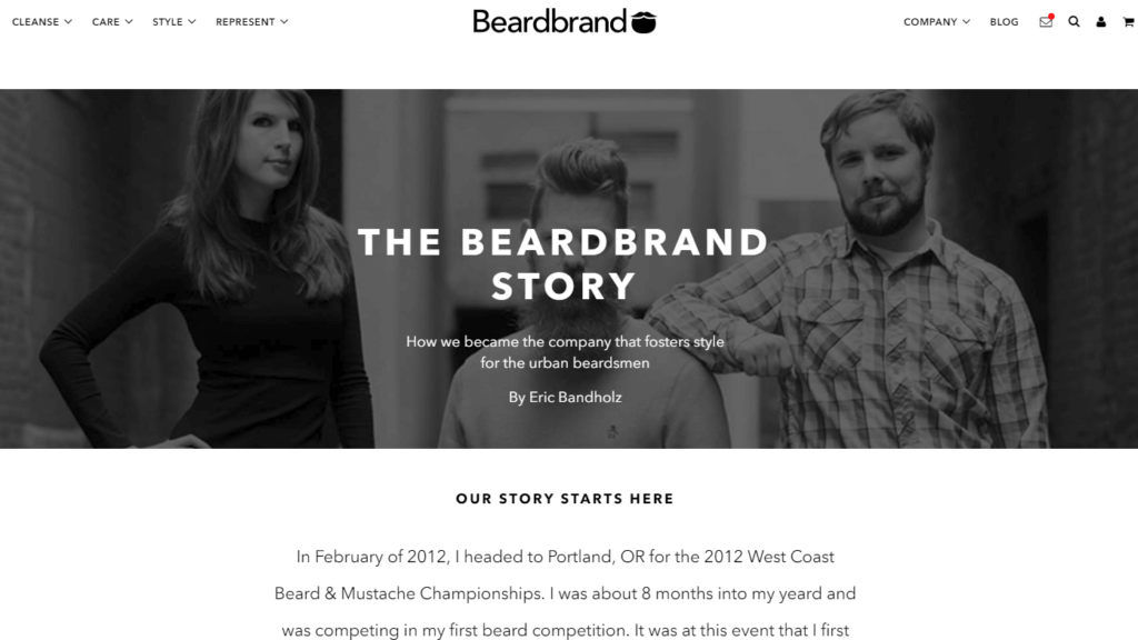 beardbrand about us page example ecommerce