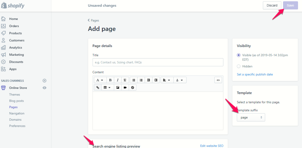 add landing page shopify example step 2