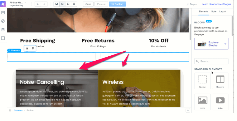 Adding columns to landing page for Shopify store in Shogun