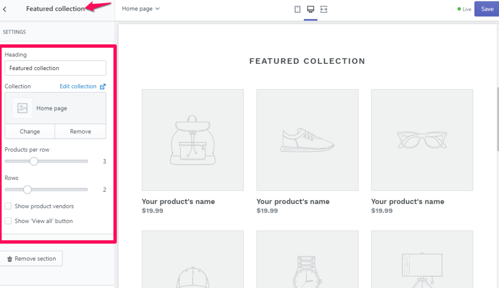 shopify theme customization editing sections collections page example