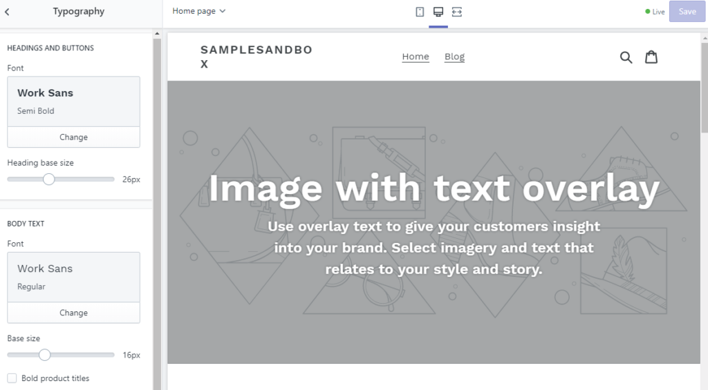 changing typography to customize shopify theme