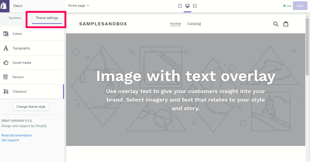 Customizing the theme settings in Shopify