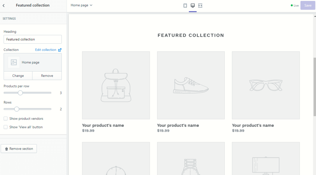 Example of editing sections in Shopify theme files